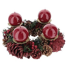 Kit per l'avvento corona pigne rosse punzone oro satinato candela rosso scuro ruvida s1