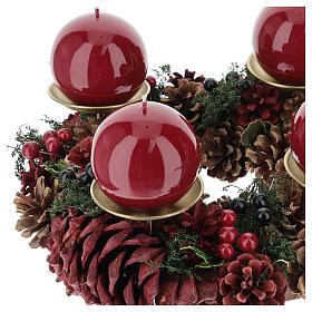 Kit per l'avvento corona pigne rosse punzone oro satinato candela rosso scuro ruvida s2