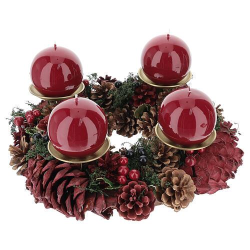 Kit per l'avvento corona pigne rosse punzone oro satinato candela rosso scuro ruvida 1
