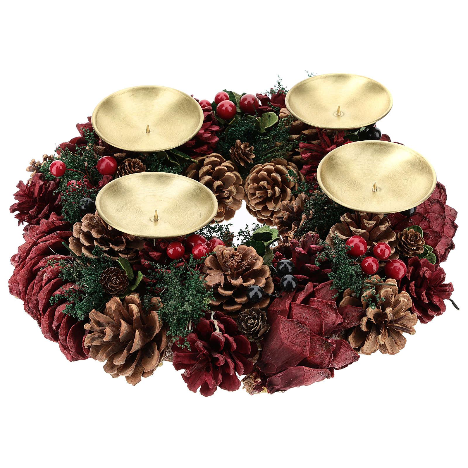 Kit Advento coroa pinhas vermelhas pinos dourados velas enrugadas vermelho escuro 3