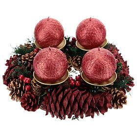 Enfeites de Natal para a Casa: Kit Advento coroa pinhas vermelhas pinos dourados velas enrugadas vermelho escuro