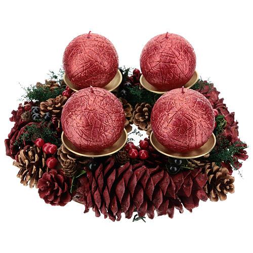 Kit Advento coroa pinhas vermelhas pinos dourados velas enrugadas vermelho escuro 1