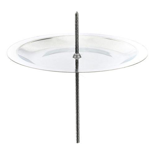 Portavela para corona Adviento set 4 piezas plateada diám. 7 cm 1