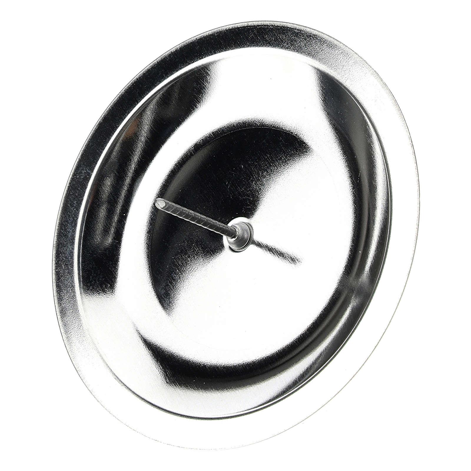 Porta-vela para coroa do Advento conjunto 4 peças prateadas diâm. 7 cm 3