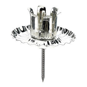 Candle holder for Advent wreath, set of 4 pcs, silver flower-shaped 5 cm s1