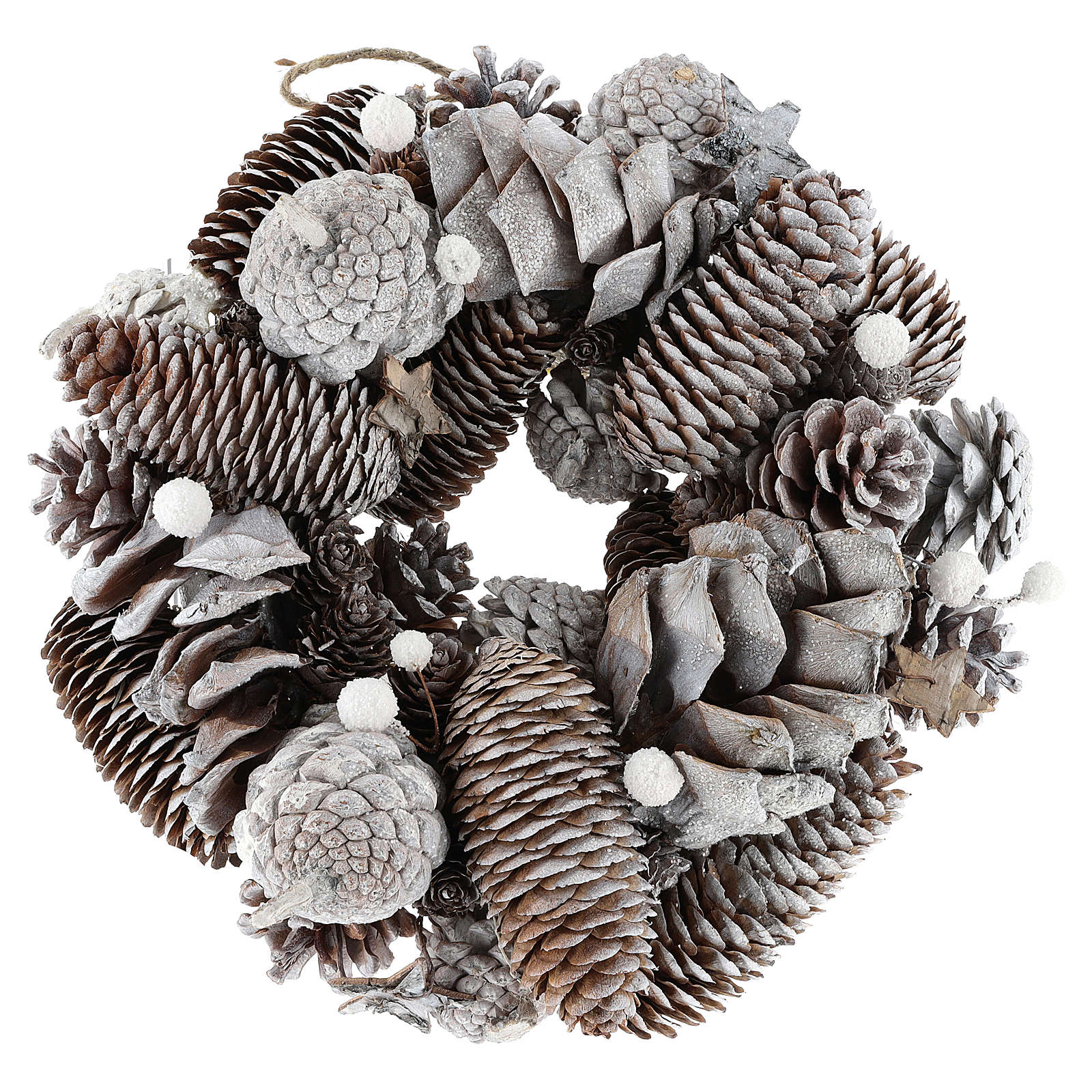 Christmas wreath with pine cones, white and glitter 3