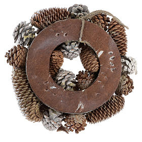 Christmas wreath with pine cones, white and glitter s3