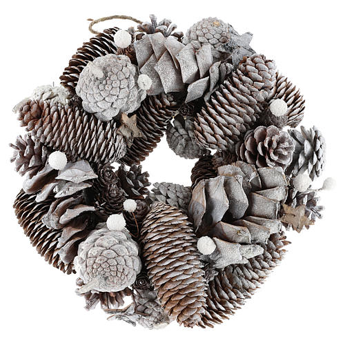 Christmas wreath with pine cones, white and glitter 1