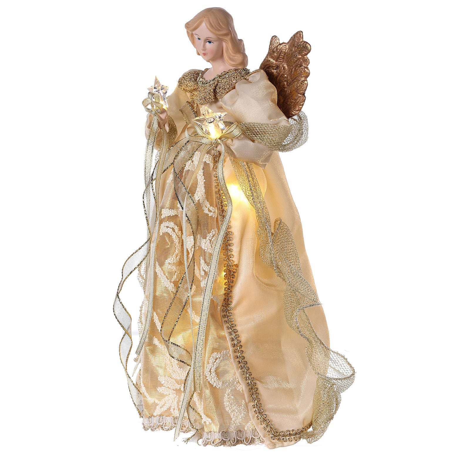 Christmas Tree topper, Angel with golden dress and LED lights 30 cm 3