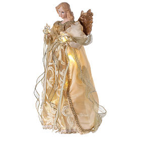 Christmas Tree topper, Angel with golden dress and LED lights 30 cm s3