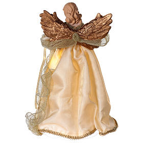 Christmas Tree topper, Angel with golden dress and LED lights 30 cm s5