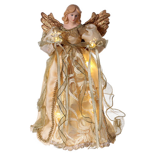 Christmas Tree topper, Angel with golden dress and LED lights 30 cm 1