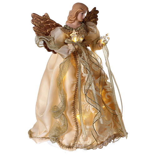 Christmas Tree topper, Angel with golden dress and LED lights 30 cm 4