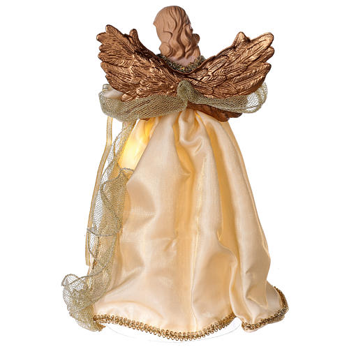 Christmas Tree topper, Angel with golden dress and LED lights 30 cm 5