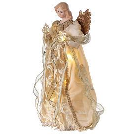 Ángel punta con led vestido oro 30 cm s3
