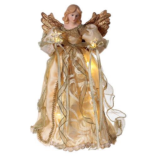 Ángel punta con led vestido oro 30 cm 1