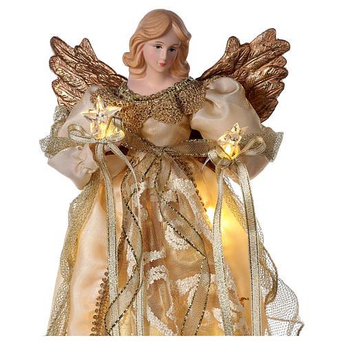 Ángel punta con led vestido oro 30 cm 2