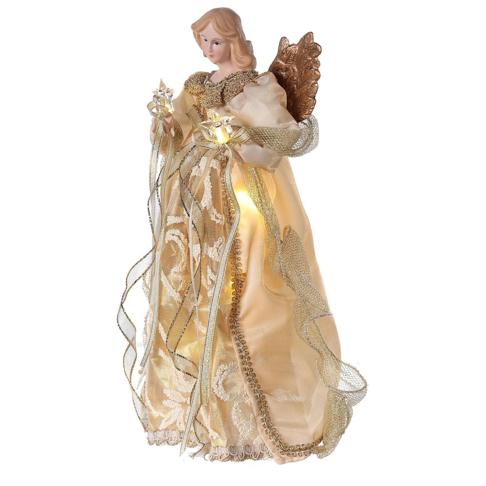 Ange cimier avec LED robe or 30 cm 3
