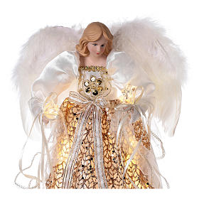 Christmas Tree topper, golden Angel with LED lights 30 cm s2