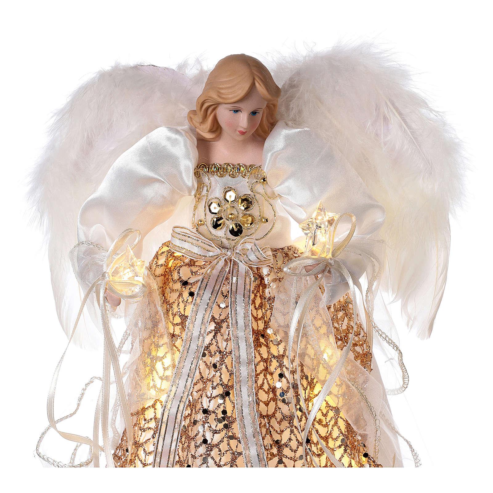 Cimier ange paillettes dorées et LED 30 cm 3