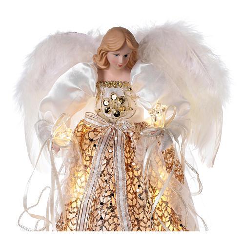 Cimier ange paillettes dorées et LED 30 cm 2