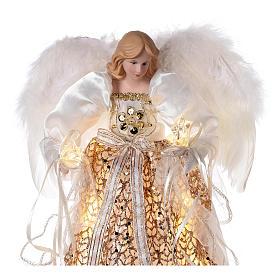Puntale angelo brillantini dorati e led 30 cm s2