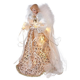 Puntale angelo brillantini dorati e led 30 cm s3