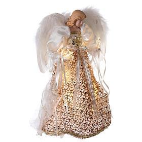 Puntale angelo brillantini dorati e led 30 cm s4
