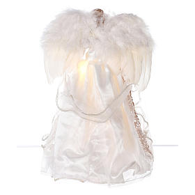 Puntale angelo brillantini dorati e led 30 cm s5