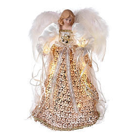 Christmas home decorations: Angel Christmas Tree topper gold glittered with LED lights 12 in