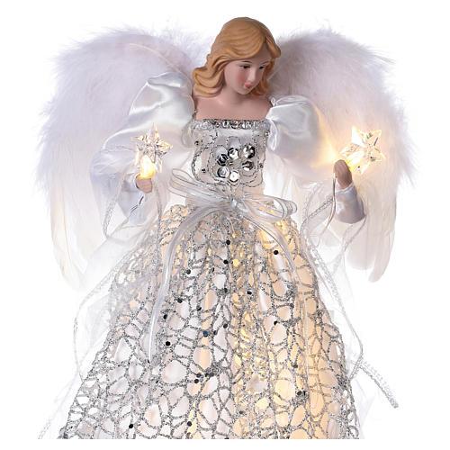 Anjo ponteira para Árvore de Natal luzes LED veste prateada 30 cm 2
