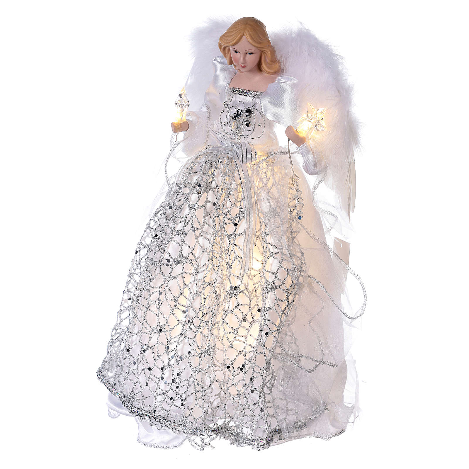 Angel Christmas Tree topper silver embroidered with LED lights 12 in 3