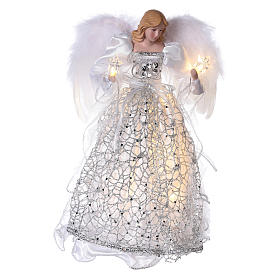Christmas home decorations: Angel Christmas Tree topper silver embroidered with LED lights 12 in