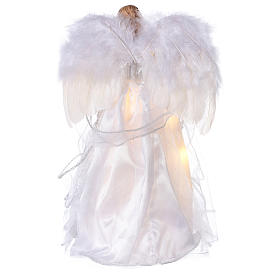Angel Christmas Tree topper silver embroidered with LED lights 12 in s5