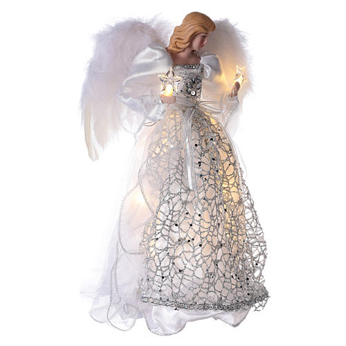 Angel Christmas Tree topper silver embroidered with LED lights 12 in 4