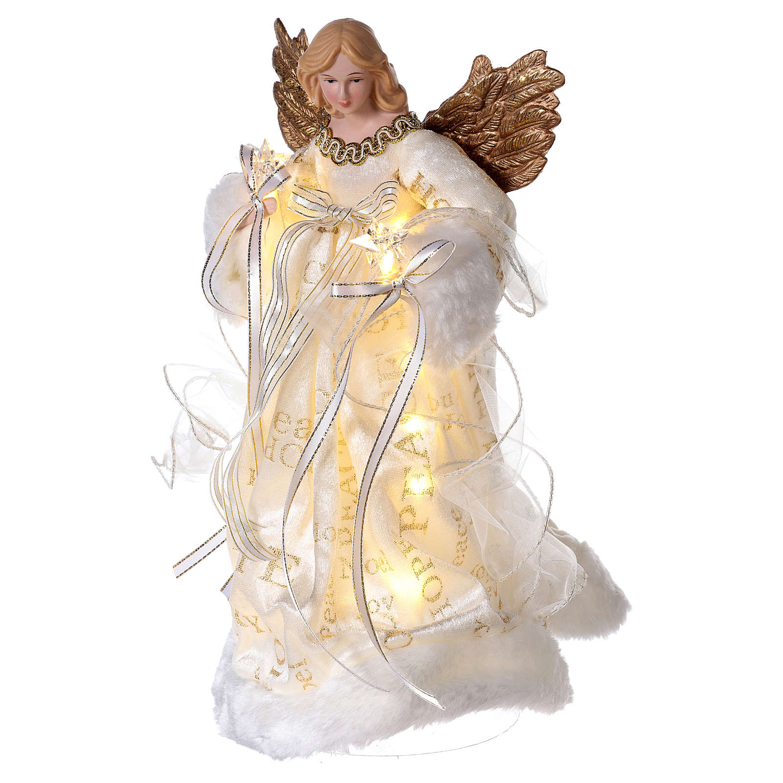 Christmas Tree topper, Angel with golden wings and LED lights 30 cm 3