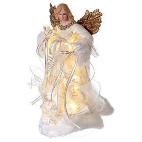 Christmas Tree topper, Angel with golden wings and LED lights 30 cm s3