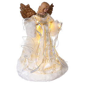 Christmas Tree topper, Angel with golden wings and LED lights 30 cm s4