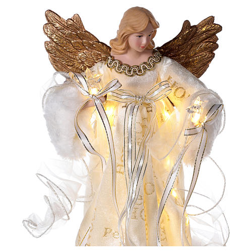 Christmas Tree topper, Angel with golden wings and LED lights 30 cm 2