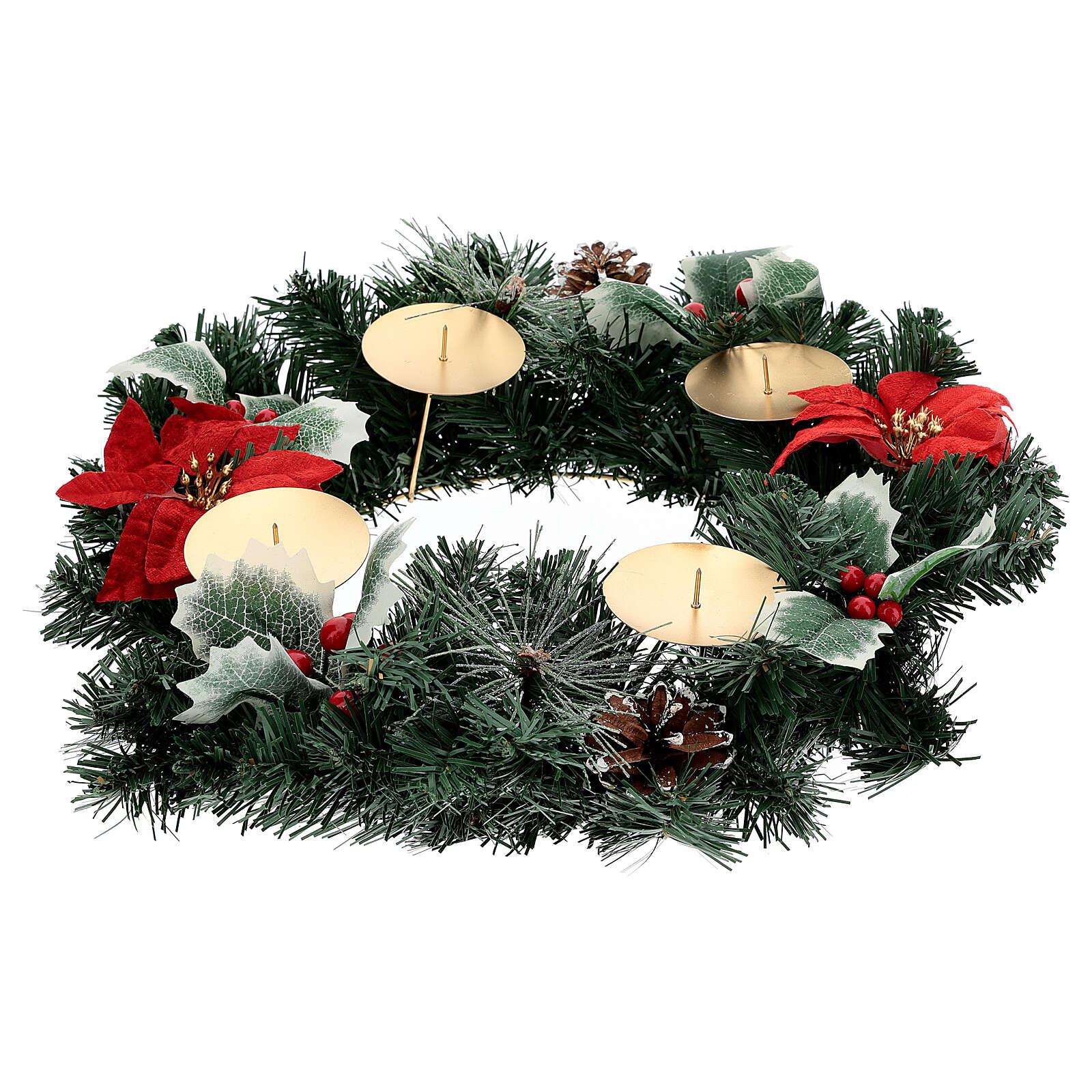 Corona Adviento estrellas navidad bayas piñas con puntas diámetro 40 cm 3