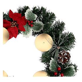 Corona Adviento estrellas navidad bayas piñas con puntas diámetro 40 cm s2