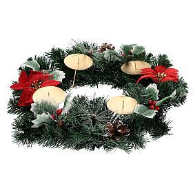 Corona Adviento estrellas navidad bayas piñas con puntas diámetro 40 cm s3