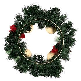 Corona Adviento estrellas navidad bayas piñas con puntas diámetro 40 cm s4