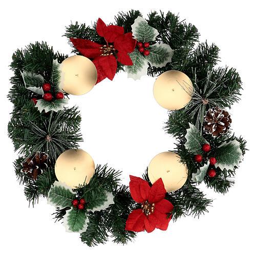 Corona Adviento estrellas navidad bayas piñas con puntas diámetro 40 cm 1