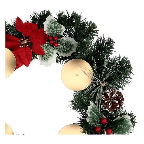 Corona Adviento estrellas navidad bayas piñas con puntas diámetro 40 cm 2