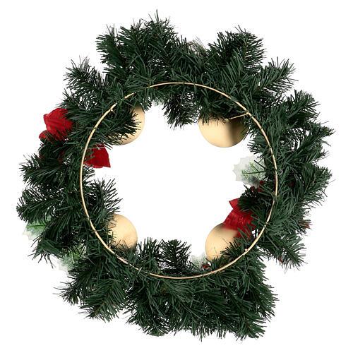 Corona Adviento estrellas navidad bayas piñas con puntas diámetro 40 cm 4
