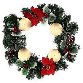 Couronne Avent étoile Noël baies pommes de pin avec piques diamètre 40 cm s1