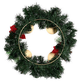 Couronne Avent étoile Noël baies pommes de pin avec piques diamètre 40 cm s4