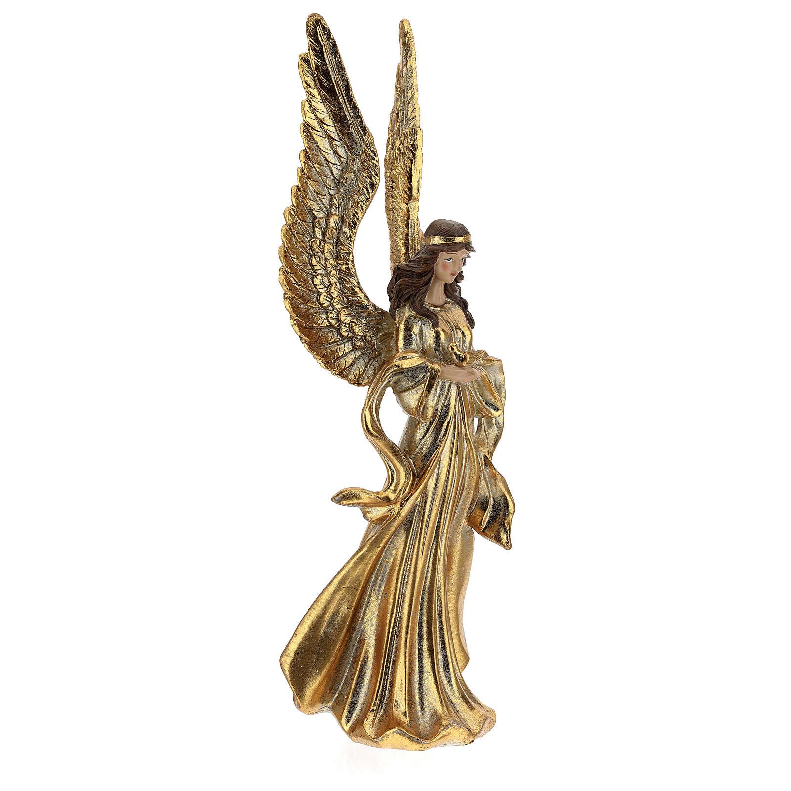 Ange de Noël ailes longues décoration or 32 cm 3