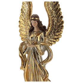 Ange de Noël ailes longues décoration or 32 cm s2